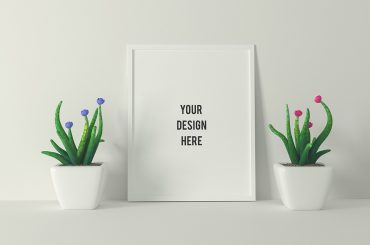 Poster Frame With Two Plants Mockup