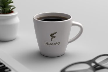 Realistic Coffee Mug Mockup on Workspace