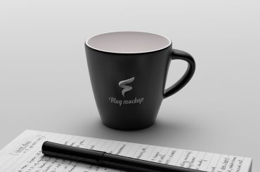 Coffee Cup Mockup With Notebook