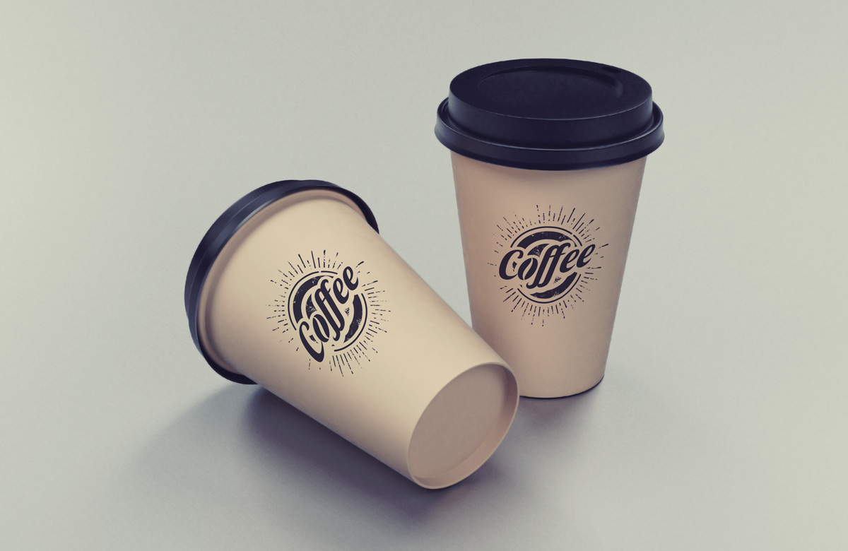 two coffee cups mockup